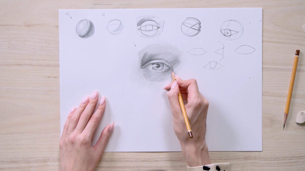 How to draw eyes with a pencil Phased - Stage 15 - Photo