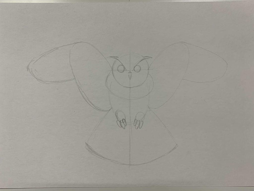 Как нарисовать карандашом сову с расправленными крыльями 1 этап - фото