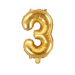 PartyDeco Folie Ballon Nummer 3 guld
