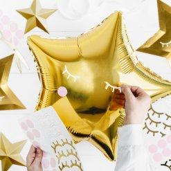 PartyDeco Folie Ballon stjerne, 48 cm, guld