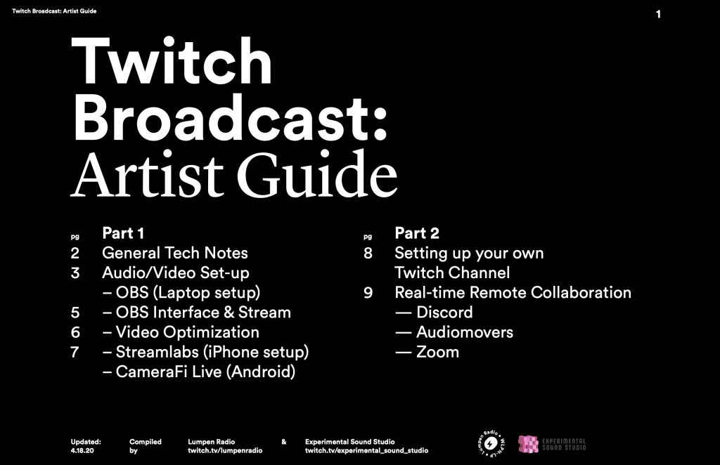 Twitch Broadcast: Artist Guide // by Jeremiah Chiu of Lumpen Radio (twitch.tv/lumpenradio)