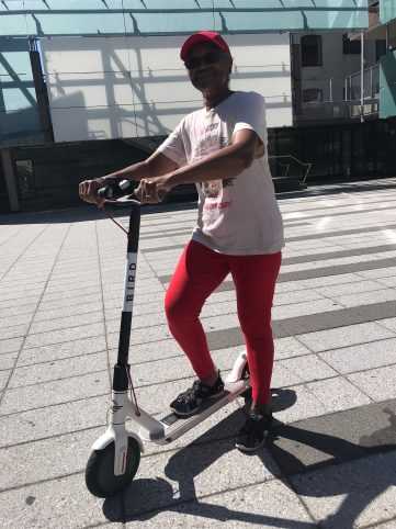 Beatrice Jackson said she liked the scooter — if she can ride on a safe street. Photo: Gersh Kuntzman