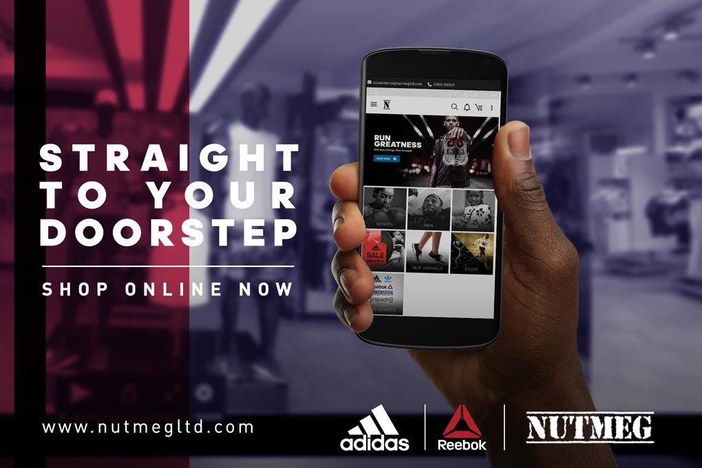 Las compras en linea de productos de Adidas ahora fácil en Ghana a través de nuez moscada