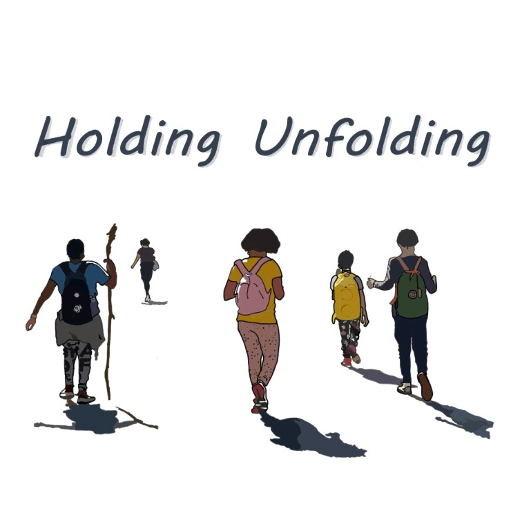 """Color illustration of adventuring youths heading off into an open space, with """"Holding Unfolding"""" title text hovering above"""