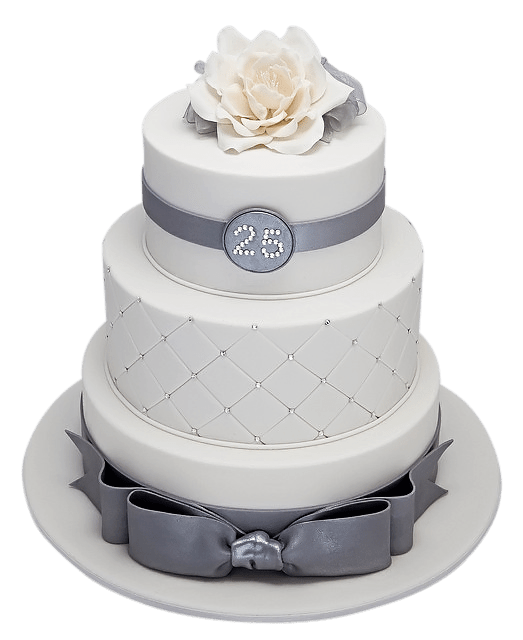 Glittering Tiered Cake For A Silver Birthday Party