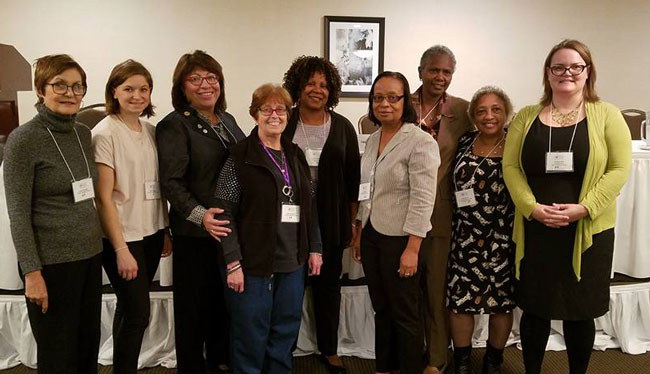 Delegates from DHACNY to DHASNY Empire Conference, 2016 Left to right: Judith Schwartz, Molly Walters, Millie Thaw, Helen Schulberg, Denice Brown, Daughn Thomas, Vermell Ford and Ashley Grill