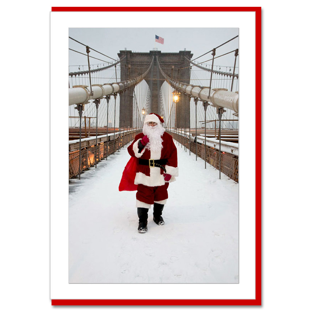 Santa On Brooklyn Bridge New York NY Christmas Photo