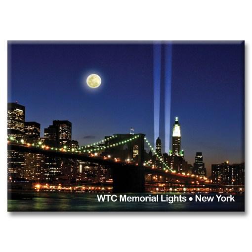 Brooklyn Bridge and WTC Memorial Lights New York Photo Magnet