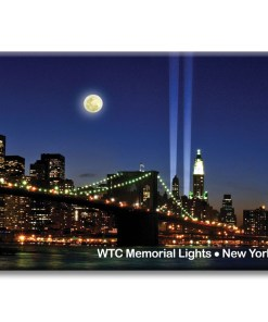 Brooklyn Bridge and WTC Memorial Lights New York Photo Magnet