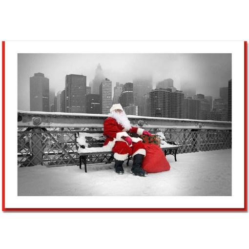 Santa Resting on Brooklyn Bridge - Handmade Photo Card