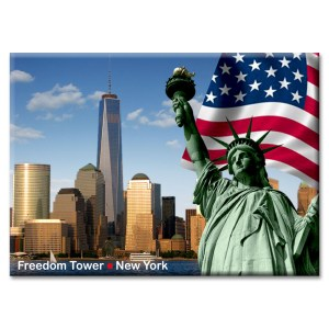 Statue of Liberty Freedom Tower New York Photo Magnet from NY Christmas Gifts