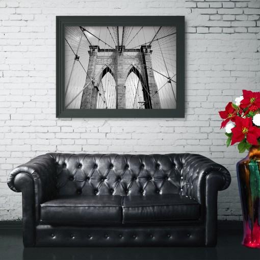 Brooklyn Bridge Ropes Art Print Poster Living Room Decor