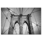Brooklyn Bridge Ropes Horizontal Black and White New York Art Print MP-1103