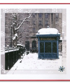 Brooklyn Bridge Subway Station Handmade Holiday Card HHC9359 from NY Christmas Gifts
