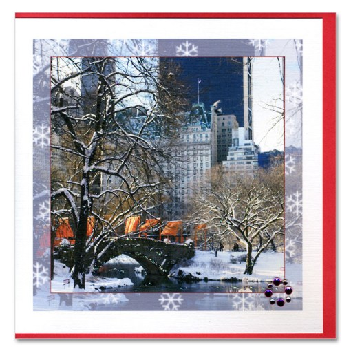 Winter Morning Love Bridge Central Park Handmade Card HHC9879