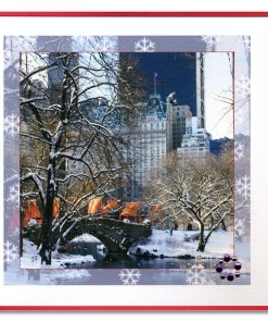 Winter Morning Love Bridge Central Park Handmade Card HHC9879