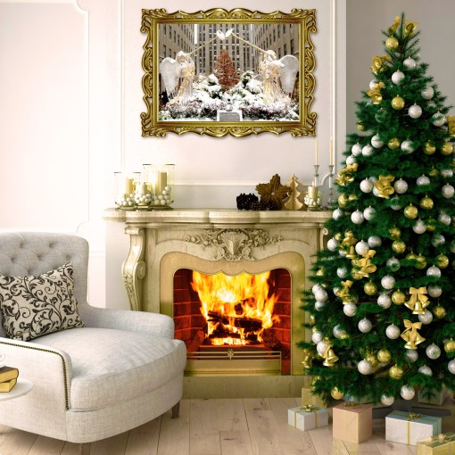 Angels Rockefeller Christmas Tree Art Print Poster Room Decor