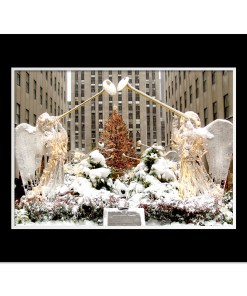 Angels at Rockefeller Christmas Tree Art Print Poster MP 2110 Black Mat