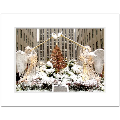 Angels at Rockefeller Christmas Tree Art Print Poster MP 2110 White Mat