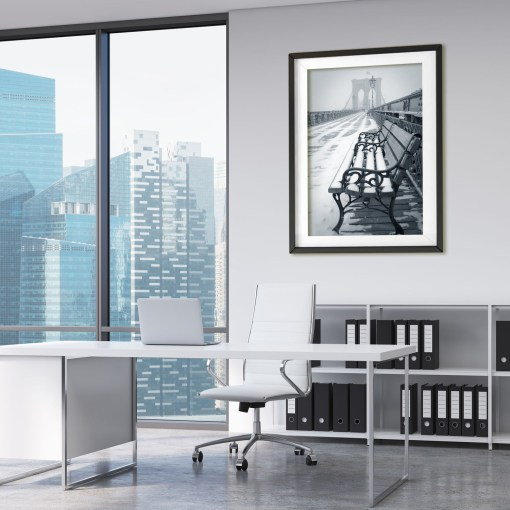 Bench Show Brooklyn Bridge Art Print Poster BW Blue White Office