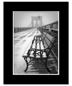 Bench Brooklyn Bridge Snow New York Art Print Poster MP-1151 Mat Black