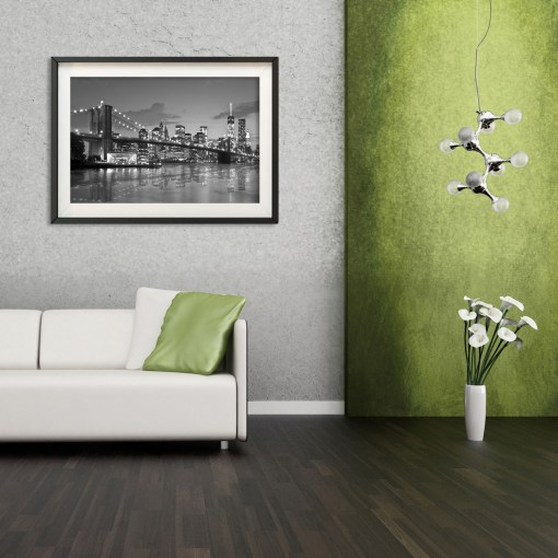 Brooklyn Bridge Night Panorama Reflection New York Art Print Black and White Lime Gray Room Decor
