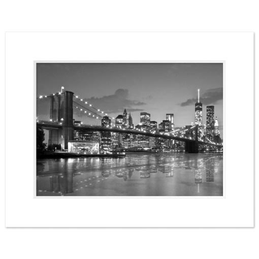Brooklyn Bridge Night Panorama Reflection New York Art Print Black and White White Mat