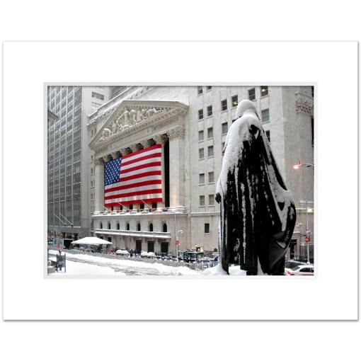 George Washington Wall Street Winter Art Print Poster MP-2116 Mat White
