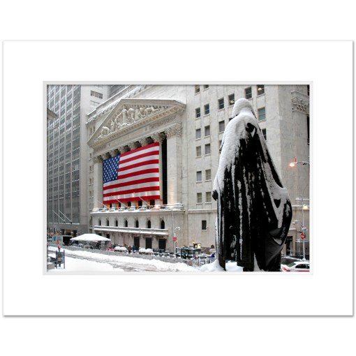George Washington Wall Street Winter Art Print Poster MP-2116 Mat White