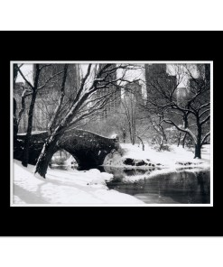 Love Bridge Central Park New York Black White Art Print NY MP-1006 Black Mat