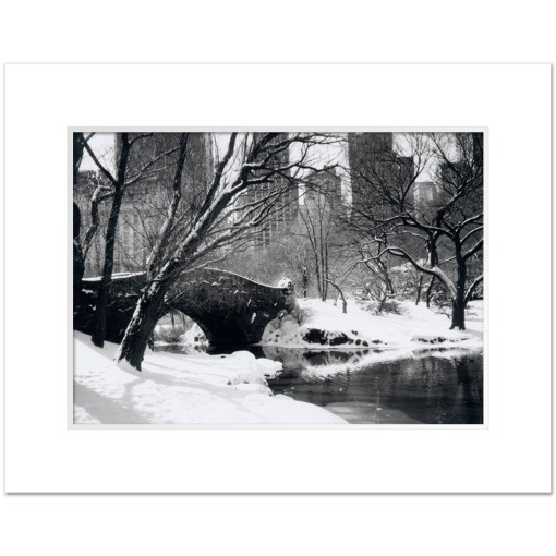 Love Bridge Central Park New York Black White Art Print NY MP-1006 White Mat