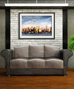 Midtown Sunset Panorama Art Print Poster NYC Room Decor Brick Wall