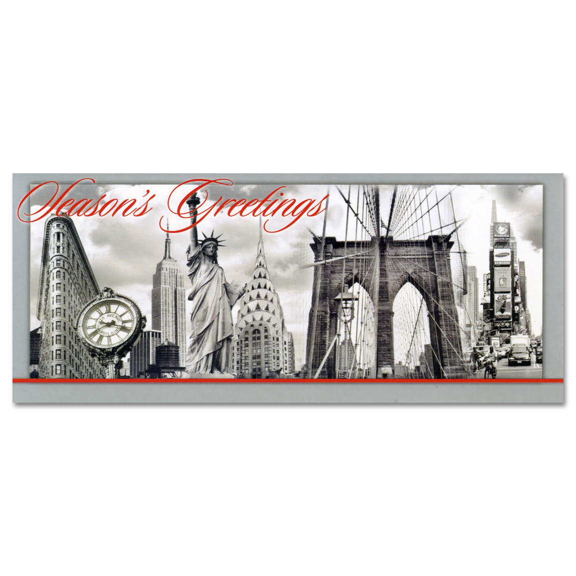 NYC Landmarks Collage – Christmas Money Cards Holders Set of 8