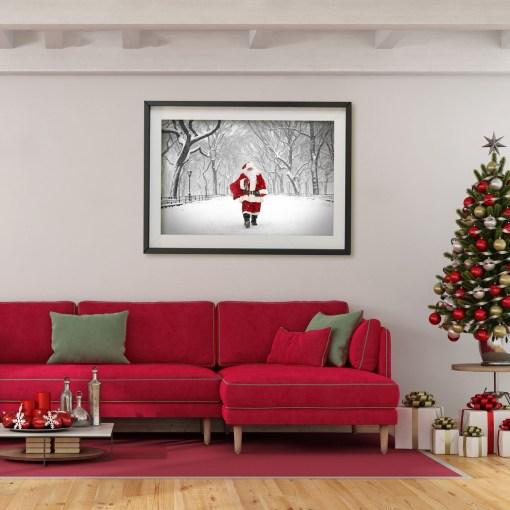 Santa Poet Walk Central Park Art Print Poster Red Christmas Room Decor