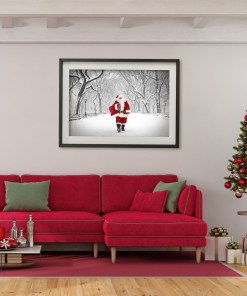 Santa Poet Walk Central Park Art Print Poster Red Christmas Room Decor