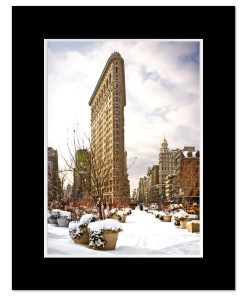 Snow Flatiron Building Art Print Poster MP-1025 Black Mat