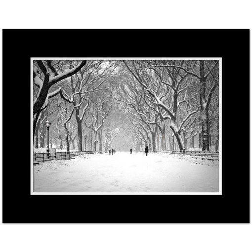 Snow on Poet Walk Central Park Art Print Poster NY MP-1146 Mat Black