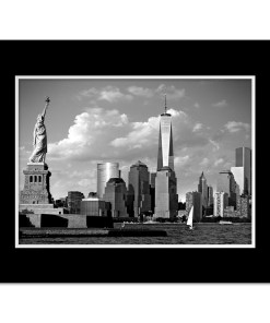 Statue Liberty Freedom Tower Black White Art Print Poster MP1160 Print Black Mat