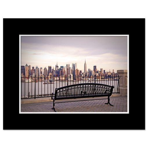 View from Bench Midtown Manhattan New York Art Print Poster MP-2132 Black Mat