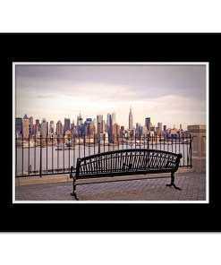 View from Bench Midtown Manhattan New York Art Print Poster MP-2132 Black Mat