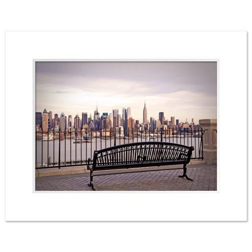 View from Bench Midtown Manhattan New York Art Print Poster MP-2132 White Mat