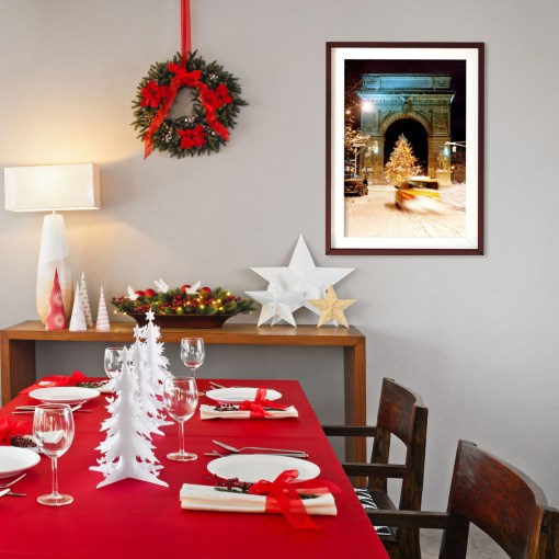Washington Arch Christmas Tree Art Print Poster Red Christmas Dining Room Decor