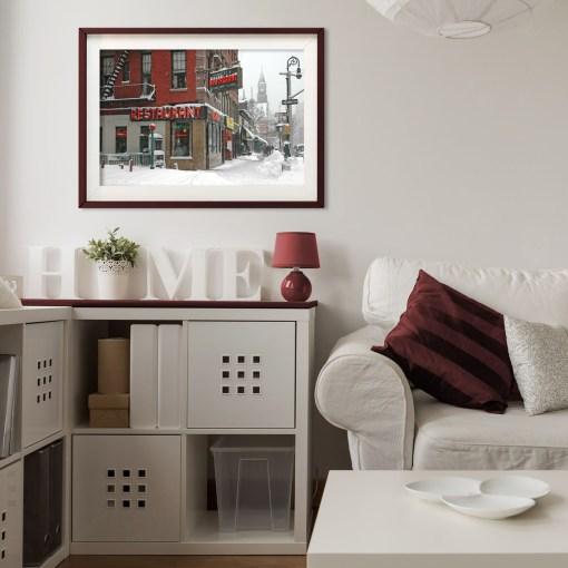 Waverly Restaurant Winter Art Print Poster Living Room Decor