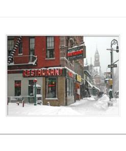 Waverly Restaurant Winter Art Print Poster MP-1413 White Mat