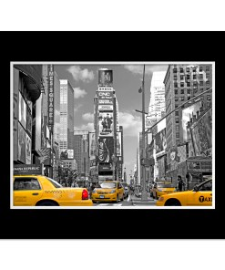Yellow Cabs on Times Square III Art Print Poster MP-1204 Black Mat