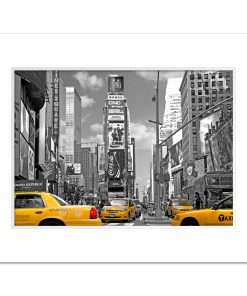 Yellow Cabs on Times Square III Art Print Poster MP-1204 White Mat