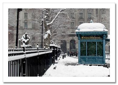 Brooklyn Bridge Station Winter NY Christmas Card HPC-2317