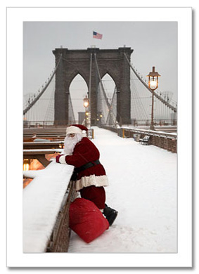 Santa Watching Traffic on Brooklyn Bridge NY Christmas Card HPC-2979