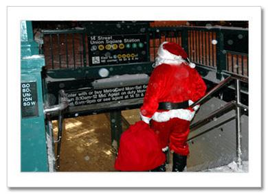 Santa at Union Square Subway Station NY Christmas Card HPC-2263