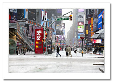 People Crossing Times Square Snow NY Christmas Card HPC-2287
